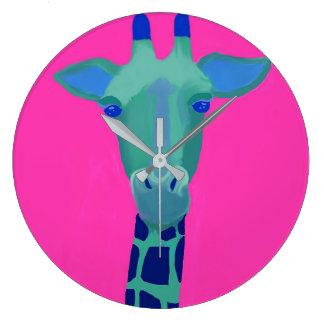 Wild time! Pop art green giraffe with hot pink Large Clock