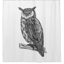 Wild Totem Animal Owl Doodle Shower Curtain
