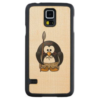 Wild Tribal Penguin Funny Cartoon Carved® Maple Galaxy S5 Case