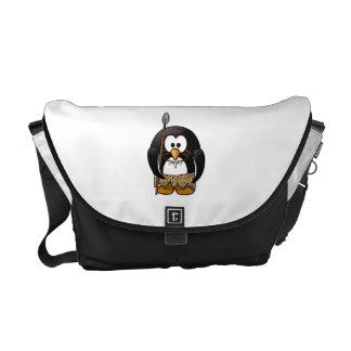 Wild Tribal Penguin Funny Cartoon Courier Bag