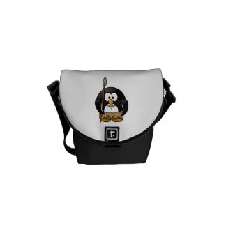 Wild Tribal Penguin Funny Cartoon Courier Bags