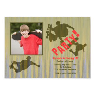 "Wild Tricks Photo Skateboard Invitation 5"" X 7"" Invitation Card"