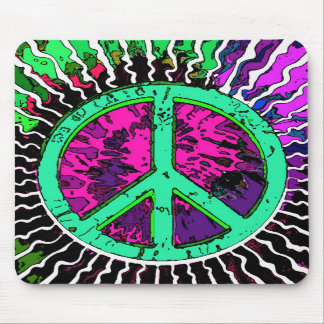 Wild Trippy Hippie Peace Sign Mouse Pads