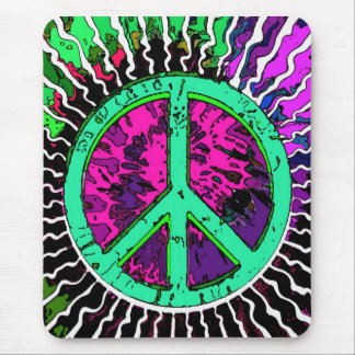 Wild Trippy Hippie Peace Sign Mouse Pad