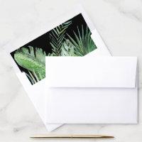 Wild Tropical Palm | Black Wedding Invitation Envelope Liner