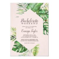 Wild Tropical Palm | Blush Bachelorette Weekend Invitation