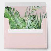 Wild Tropical Palm | Blush Wedding Invitation Envelope