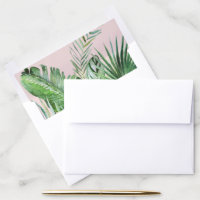 Wild Tropical Palm | Blush Wedding Invitation Envelope Liner