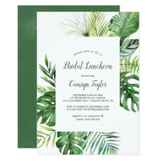 Wild Tropical Palm Bridal Luncheon Invitation
