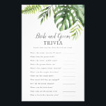 "Wild Tropical Palm Bride and Groom Trivia Game Flyer<br><div class=""desc"">This wild tropical palm bride and groom trivia game is perfect for a beach theme wedding shower. The design features an exotic array of green watercolor banana palm tree leaves, ferns, foliage, botanical plants and greenery for a tropical summer feel. Personalize the back of the card with the name of...</div>"