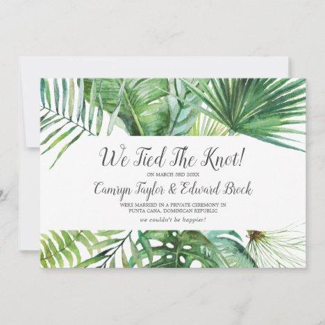 Wild Tropical Palm Elopement Announcement