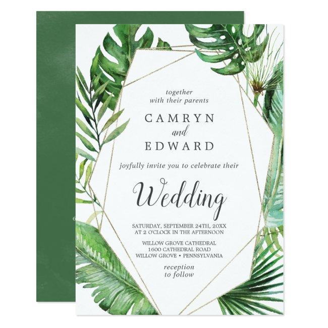 Wild Tropical Palm Geometric Itinerary and Wedding Invitation