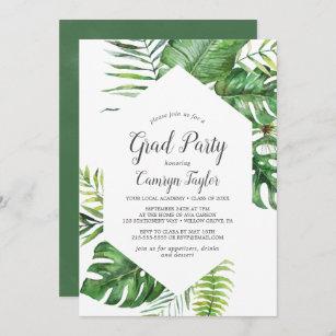 Tropical Invitation for Engagement  Wedding  Hen  Bachelorette  Baby Shower  Palms  Banana leaf  Ferns