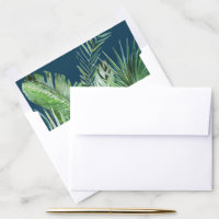 Wild Tropical Palm | Navy Blue Wedding Invitation Envelope Liner
