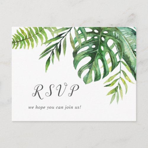 Wild Tropical Palm Song Request RSVP Postcard
