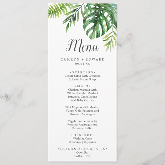 Wild Tropical Palm Wedding Dinner Menu