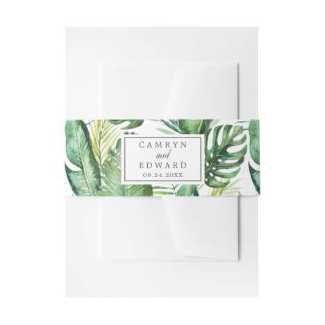 Wild Tropical Palm Wedding Invitation Belly Band