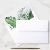 Wild Tropical Palm Wedding Invitation Envelope Liner