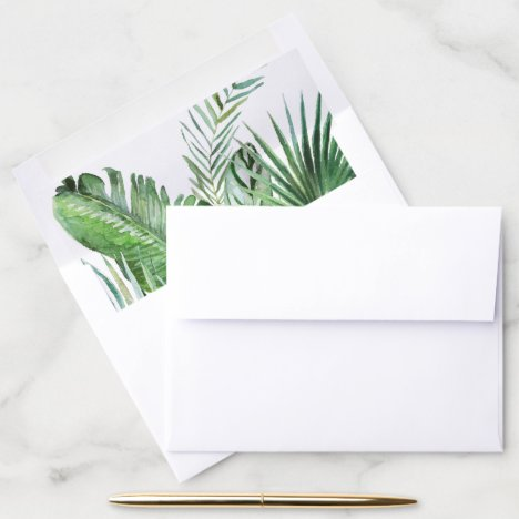 Wild Tropical Palm Wedding Invitation Envelope Liner
