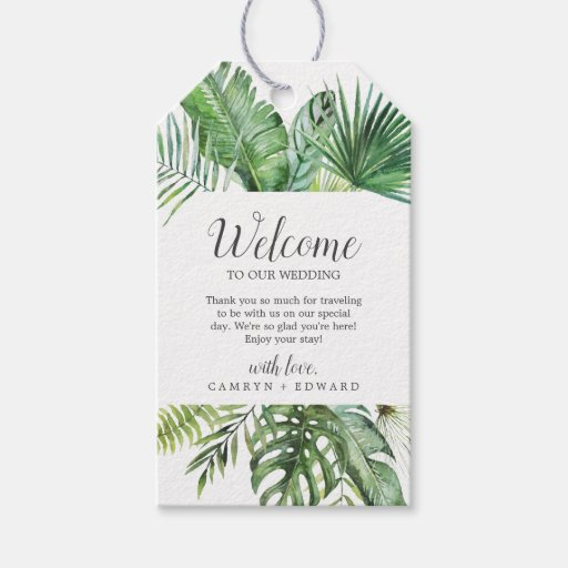Wild Tropical Palm Wedding Welcome Gift Tags