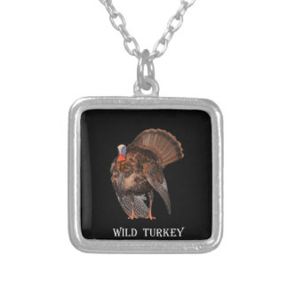 Wild Turkey (Alabama, Massachusetts, Oklahoma) Square Pendant Necklace