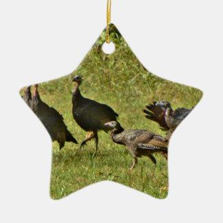 Wild Turkey, Camouflage colors Ceramic Ornament