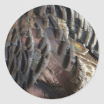 Wild Turkey Feathers I Abstract Nature Design Classic Round Sticker