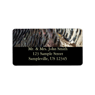 Wild Turkey Feathers I Abstract Nature Design Label