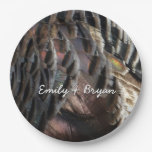 Wild Turkey Feathers I Abstract Nature Design Paper Plate