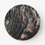 Wild Turkey Feathers I Abstract Nature Design Round Clock