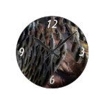 Wild Turkey Feathers I Abstract Nature Design Round Wallclocks