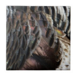 Wild Turkey Feathers I Abstract Nature Design Small Square Tile