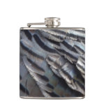 Wild Turkey Feathers II Abstract Nature Design Hip Flask