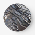 Wild Turkey Feathers II Abstract Nature Design Round Clock