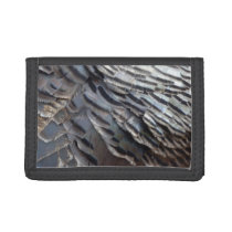 Wild Turkey Feathers II Abstract Nature Design Tri-fold Wallet