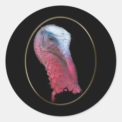 Wild Turkey Head Classic Round Sticker