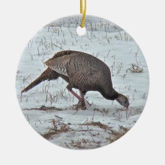 Wild Turkey in Snowy Field Ceramic Ornament