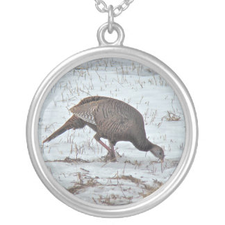 Wild Turkey in Snowy Field Silver Plated Necklace