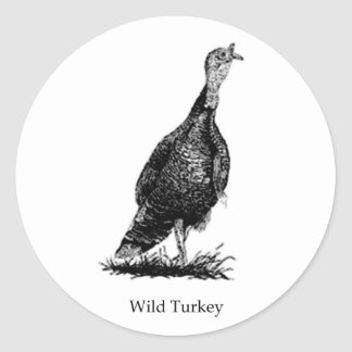 Wild Turkey (line art) Classic Round Sticker