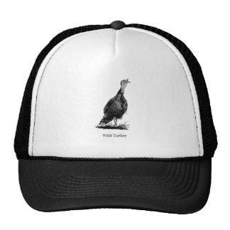 Wild Turkey (line art) Hats