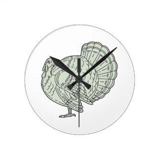 Wild Turkey Side Mono Line Round Clock