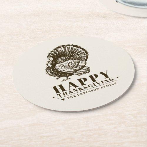 Wild Turkey  Thanksgiving Round Paper Coaster