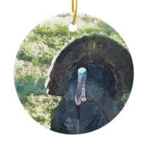 Wild Turkey Watercolor Ceramic Ornament