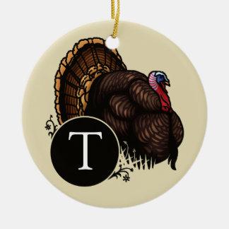 Wild Turkey with Monogram Christmas Ornament