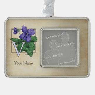 Wild Violet Personalized Flower Monogram Ornament