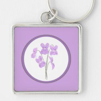 Wild Violet Watercolor Bouquet Keychain