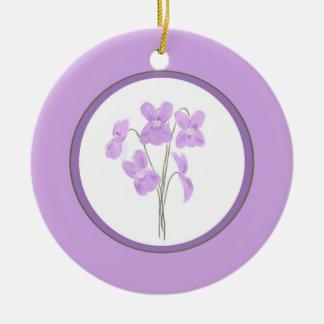 Wild Violet Watercolor Bouquet Ornament