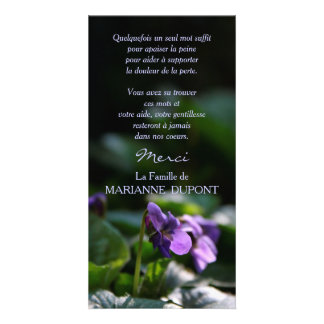 Wild violets Chart of Thanks Mourning Card
