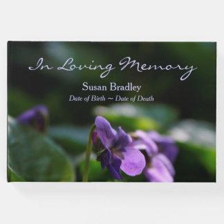 Wild Violets Floral Photo Memorial Guest Book