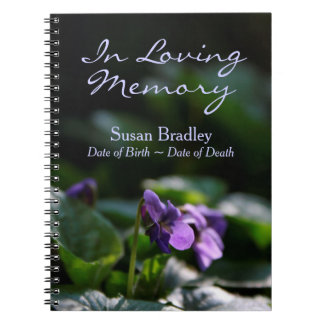 Wild Violets Floral Photo Memorial Guest Book